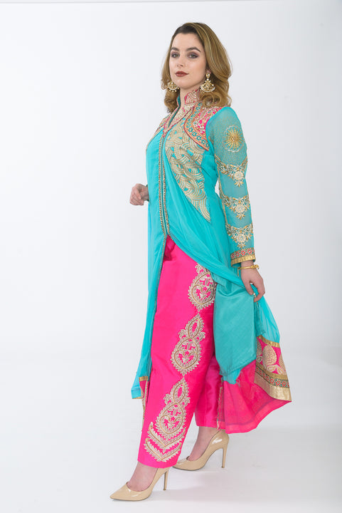 Tiffany Blue and Hot Pink Indo-Western Anarkali - Pants