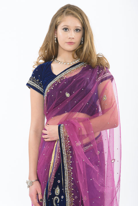 Glamorous Ultra Violet Ready-Made Pre-Pleated Sari