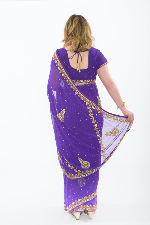 Violet Luster Ready-Made Sari RM108