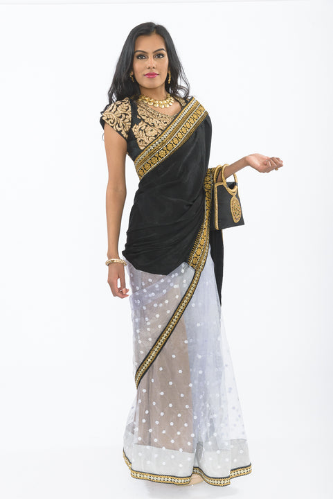 Midsummer Night Black & Gold Ready-Made Pre Pleated Sari