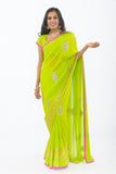 Liril Lime with Diamond Embroidery Party-wear Sari