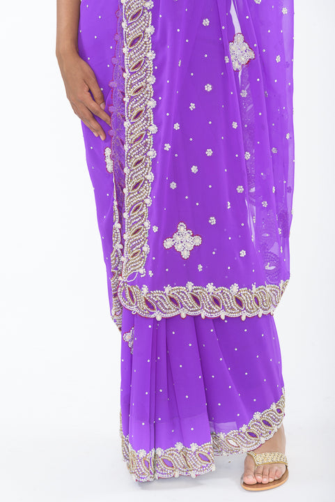 Dreamy Violet Ready-Made Pre Pleated Sari