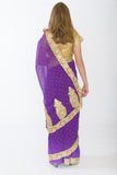 Enchanting Violet Ready-Made Pre-Pleated Sari