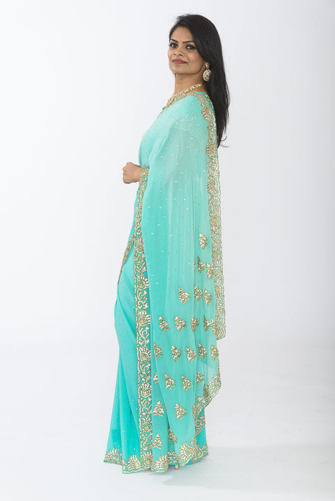 Glamorous Sky Blue with Diamond Embroidery Sari