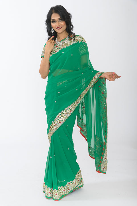 Lively Green with Stonework Border Sari