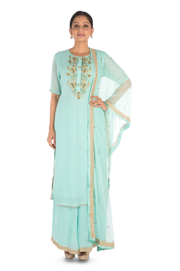 Hand Embroidered Powder Turquoise Pallazo Set