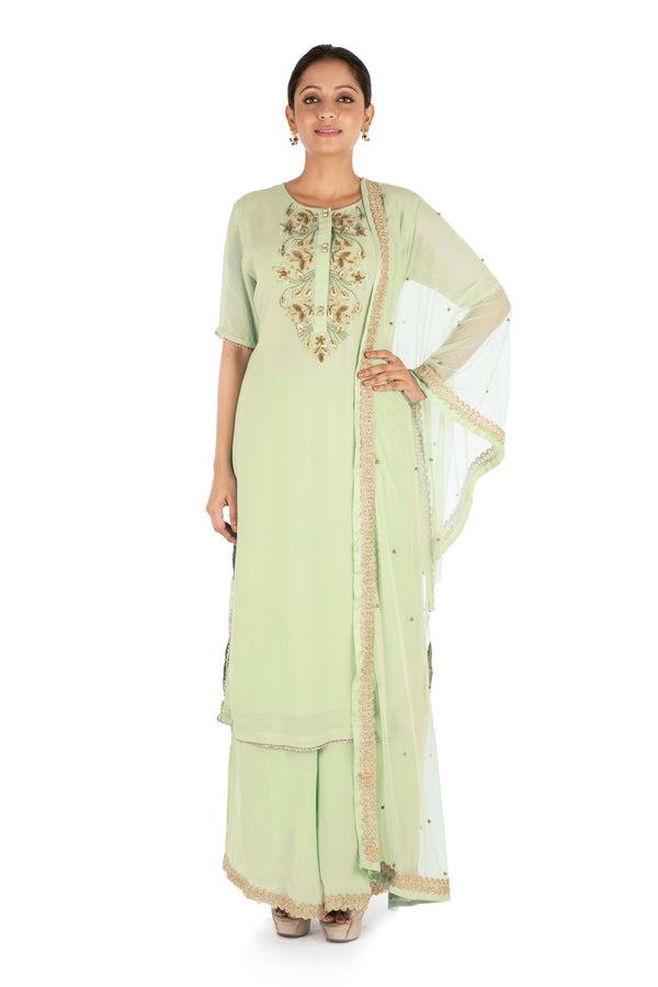 Hand Embroidered Pistachio Green Pallazo Set