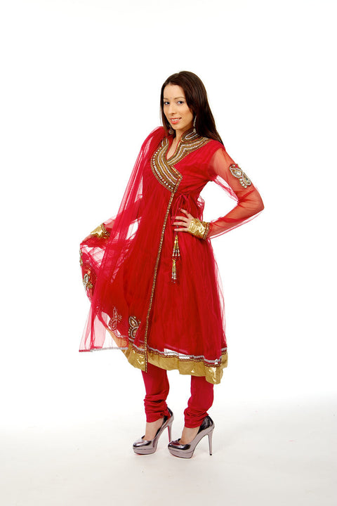 Striking Red Anarkali