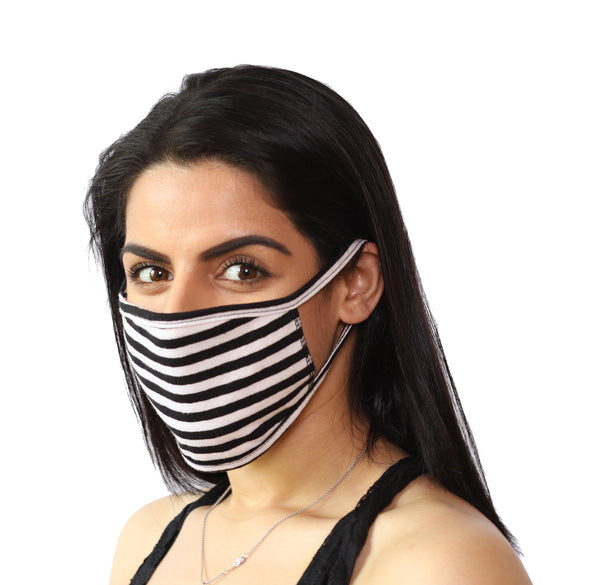 2 Pack Black and White Stripe Reusable Face Mask - Unisex Washable with 2 Layers Breathable Cotton Fabric - Made in USA