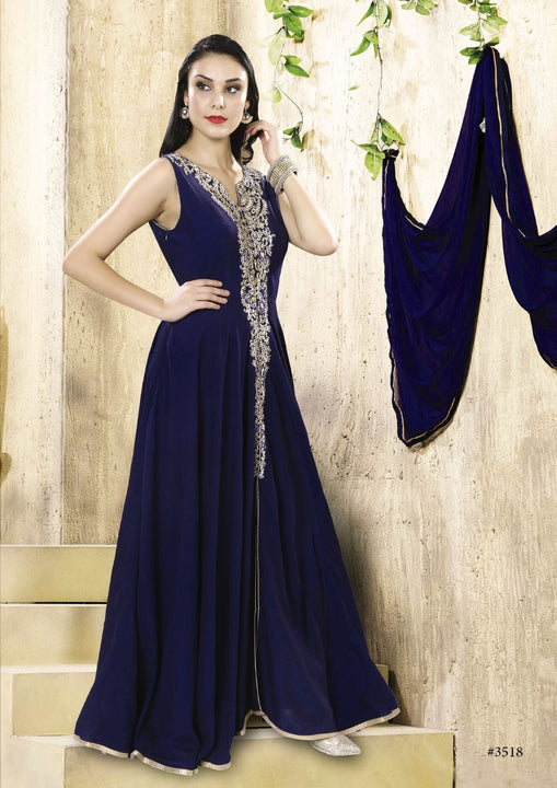Enchanting Navy Blue Silk Indo-Western Anarkali Gown