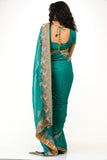 Stylish Turquoise Green Sari