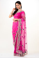 Superhot Pink Net Ready-made Sari