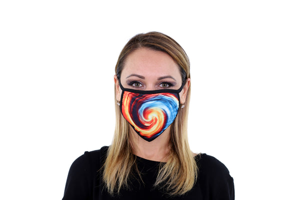 3 Pk Swirl Printed Multi Colored Reusable Face Mask Unisex Breathable Washable 2 Layer Ice Silk & Cotton Fabric