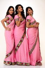 Trendy Pink Bridesmaids Sarees