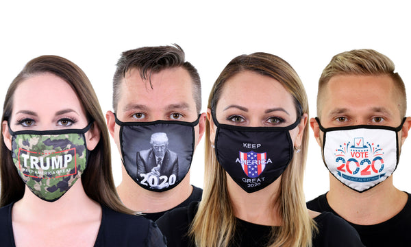 4 Pack Reusable Cloth Face Mask Washable Breathable 2 Layer Unisex Face Covering - Trump Prints
