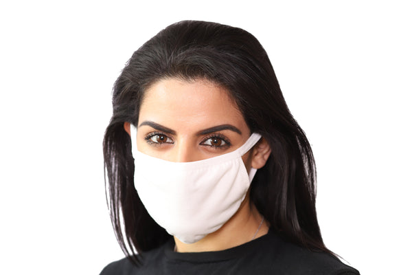 3 Pack White Reusable Face Mask - Unisex Washable with 3 Layers Breathable Cotton Fabric