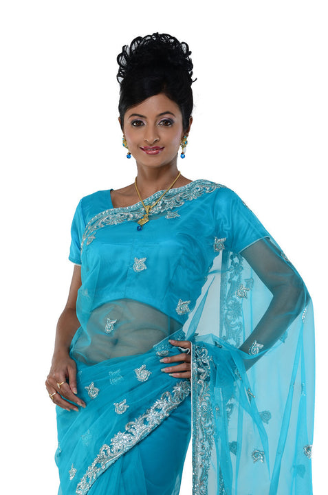 Slightly Sheer Net Classic Blue Ready-made Pre-Pleated Sari