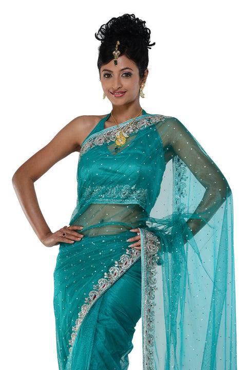 Classic Sea Green Net Ready-made sari