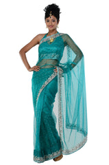 Classic Green Net Ready-made sari