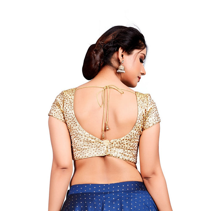 Designer Indian Gold Embroidery Padded Back Open Hooks Short Sleeves Saree Blouse (X-630Sl)