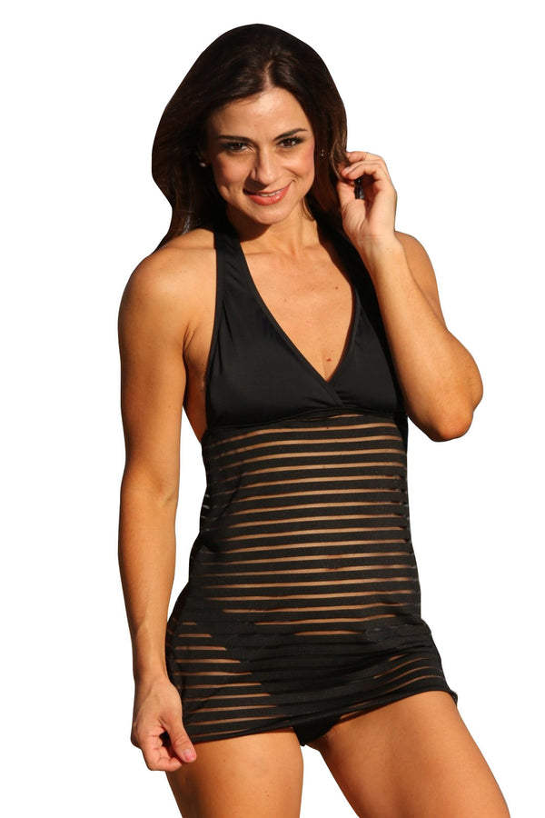 UjENA Black Sheer Stripes Swim Dress Bottom Only