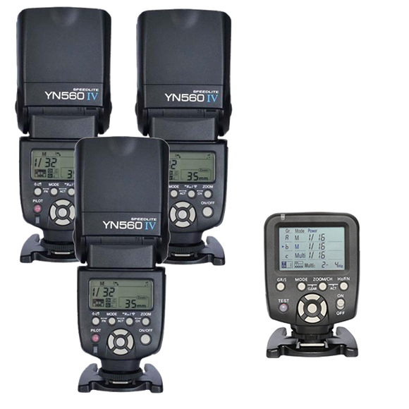 3 Full Size Speedlite Kit with wireless remote Yongnuo YN560 IV +YN560TX Flash Controller