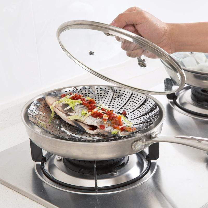 Multifunciton Cookware Stainless Steaming Basket Tools(adjustable And Suitable for different cookware)