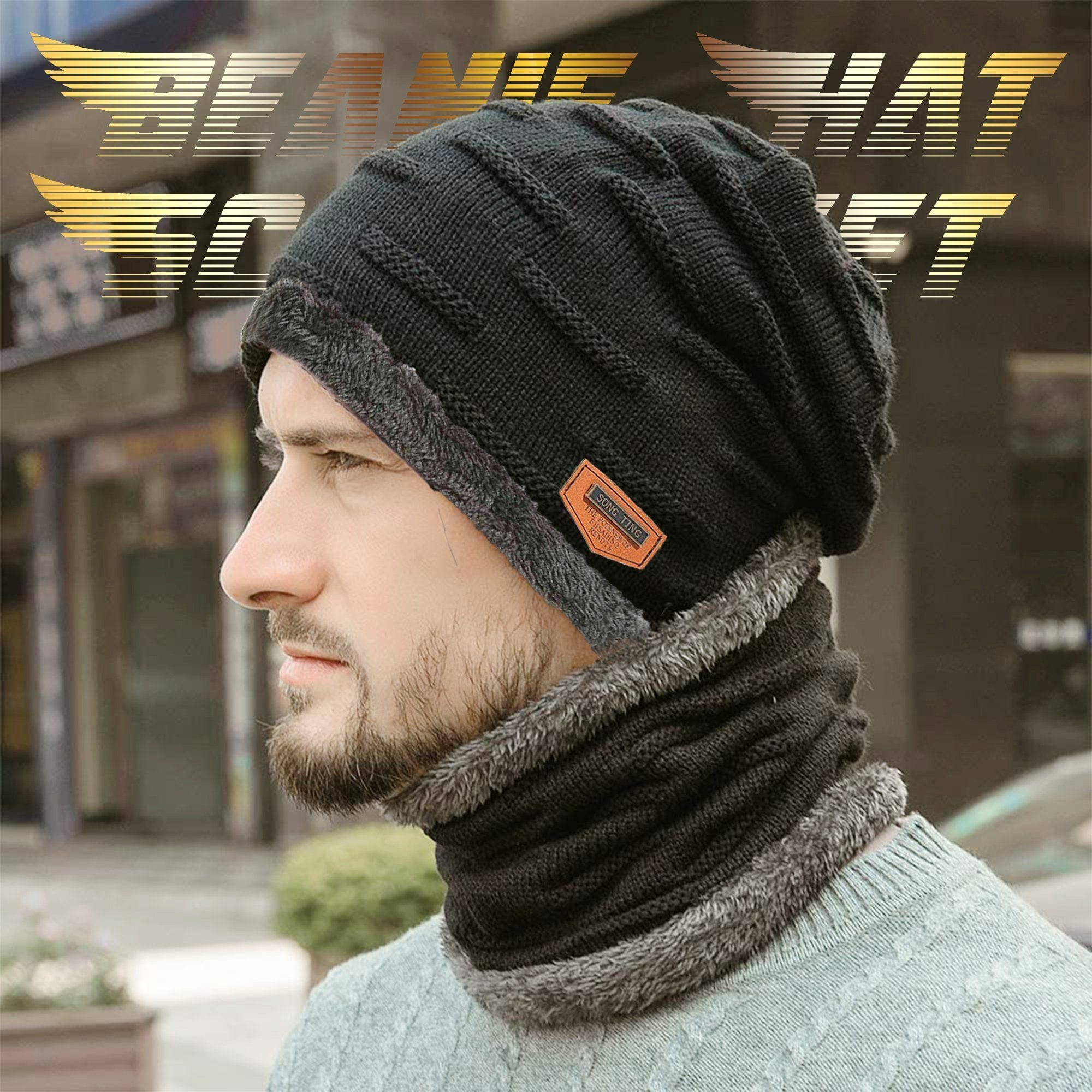 Men Beanie Hat Scarf Set