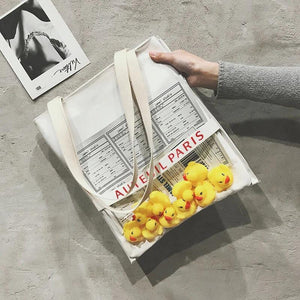 Ins new pvc small yellow duck portable transparent jelly package