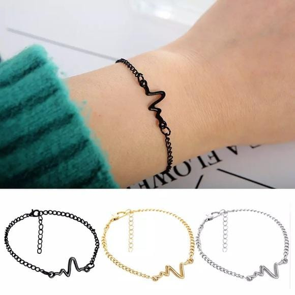 Adjustable Chain Bracelet with Heartbeat ECG