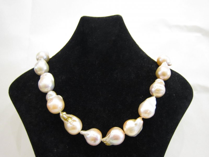 Salmon-Gold Freshwater Baroque Pearl Necklace