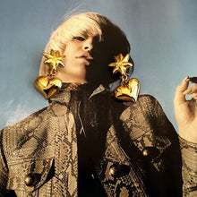 Load image into Gallery viewer, Signed Vintage Christian Lacroix Vintage Golden Sun & Heart Clip On Earrings c. 1980