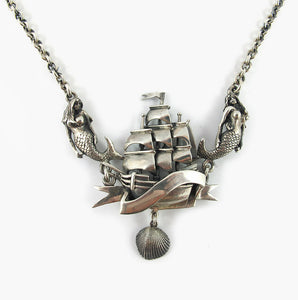 Williams Griffiths Ship with Banner, Mermaids and Shell Necklace