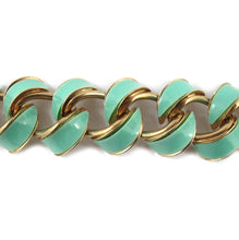 Load image into Gallery viewer, Vintage Circa 1950's Gold and Aqua Enamel Curved Link Bracelet