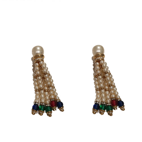 Vintage Dior Pearl and Crystal Tassel Earrings (clip-on)