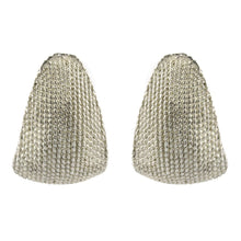 Load image into Gallery viewer, USA Vintage Unsigned Silver Tone Textured Earrings (Clip-On)