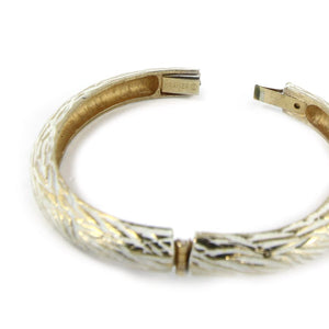 Kramer White Enamel on Gold Tone Hinged Bangle c. 1950