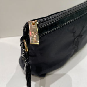 Yves Saint Laurent Black Patent Fabric Pouchette