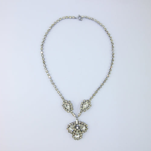 VINTAGE USA SILVER & CRYSTAL NECKLACE