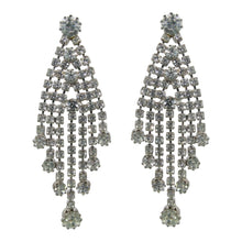 Load image into Gallery viewer, Vintage Clear Crystal Deco Tassel Style Earrings c. 1970 (Pierced)