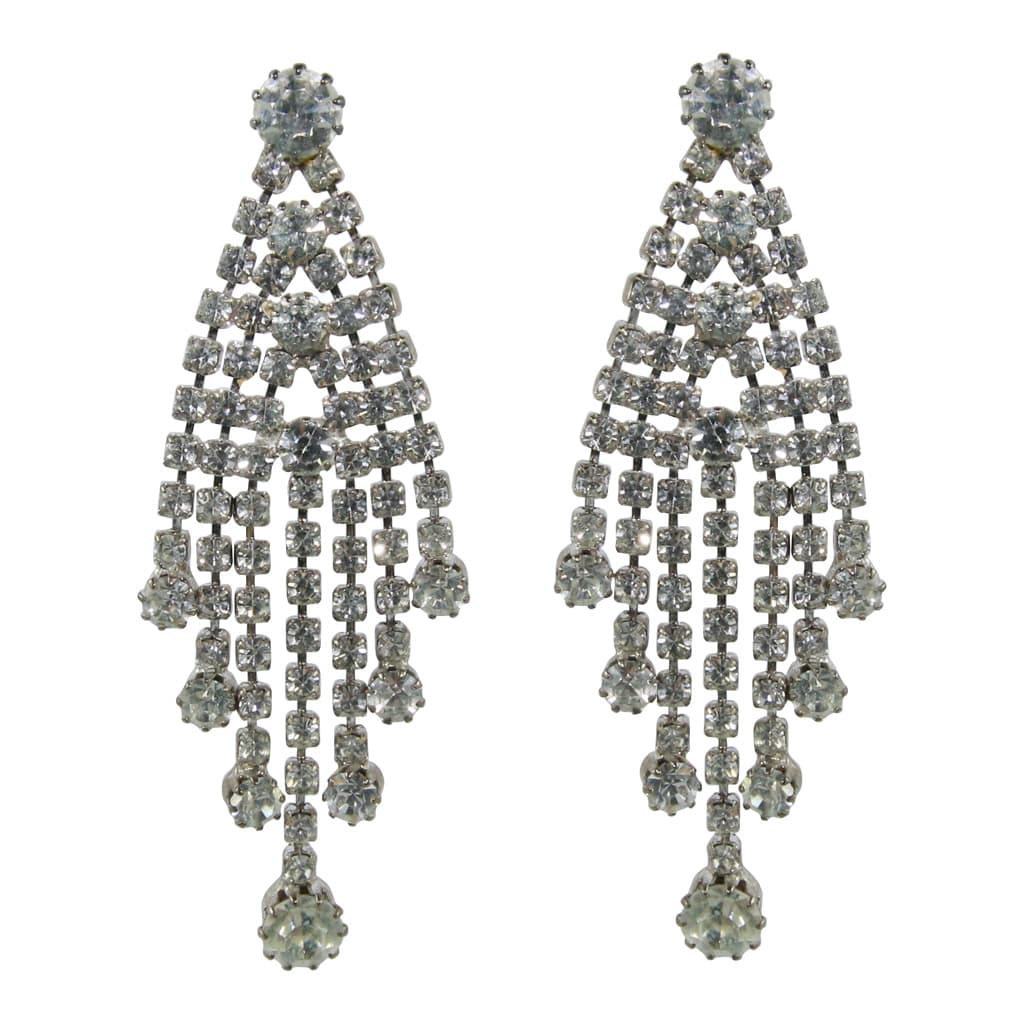 Vintage Clear Crystal Deco Tassel Style Earrings c. 1970 (Pierced)