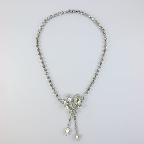 VINTAGE FRENCH SILVER & CRYSTAL NECKLACE