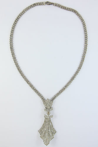 VINTAGE AUSTRIAN CRYSTAL & SILVER NECKLACE