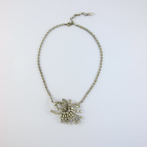 VINTAGE FRENCH CRYSTAL & SILVER NECKLACE