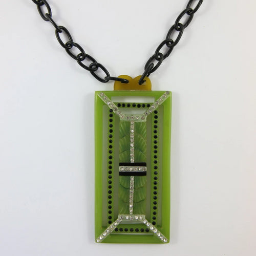 VINTAGE FRENCH CELLULOID GREEN NECKLACE