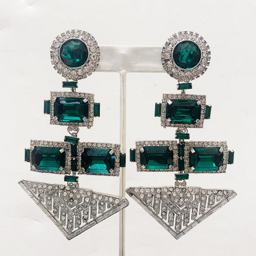 Lawrence VRBA Signed Large Statement Crystal Earrings - Art Deco Shaped Emerald Green