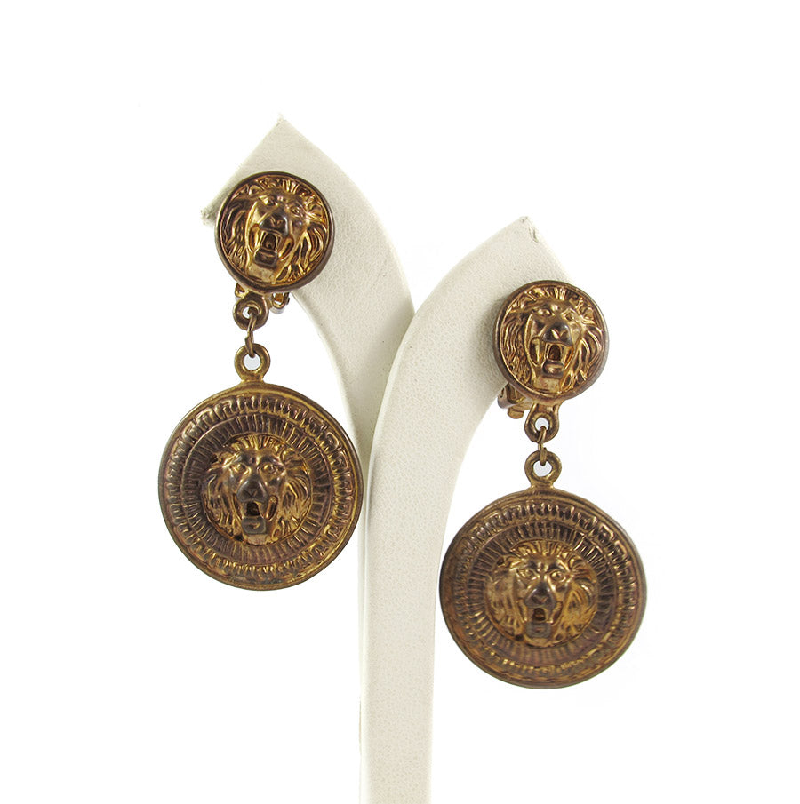 Vintage Lion Head Double Drop Clip-On Earrings