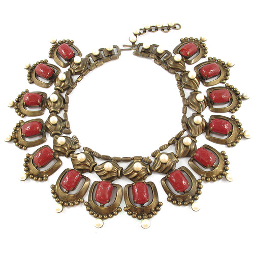 Signed Vintage 'Vrba' Burgundy Hued Necklace