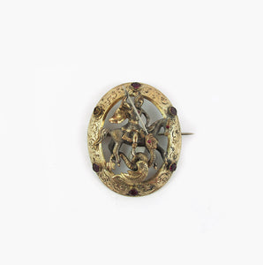 Harlequin Market Antique Victorian St George and The Dragon Brooch