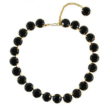 Load image into Gallery viewer, Harlequin Market Large Austrian Crystal Accent Necklace - Jet Black - 18kt Gold Plated